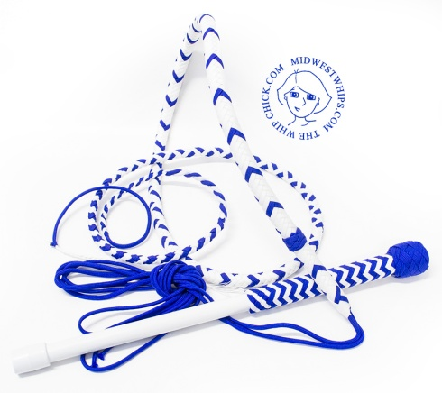 White and Blue Nylon Whip